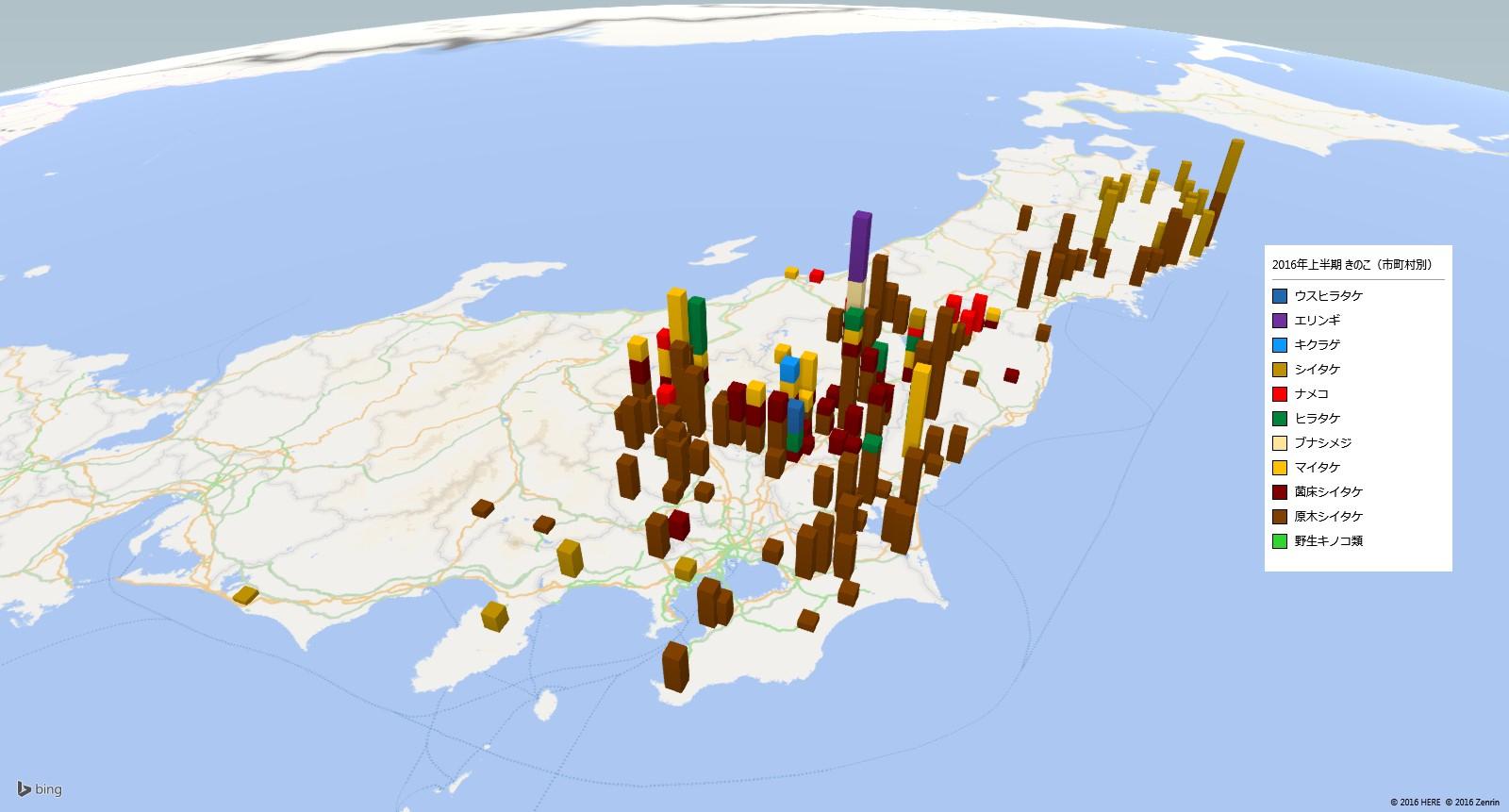 きのこの放射能検査地図(市町村別)