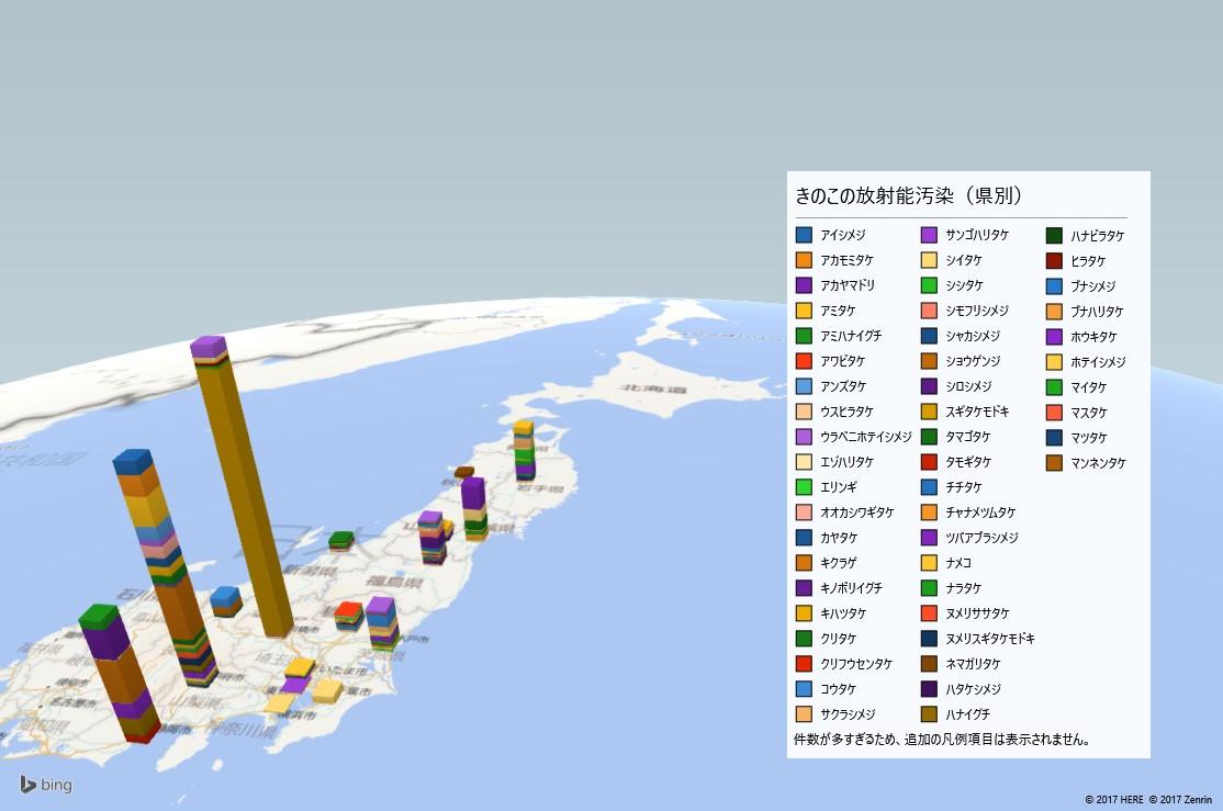 きのこの放射能検査地図(都道府県別)