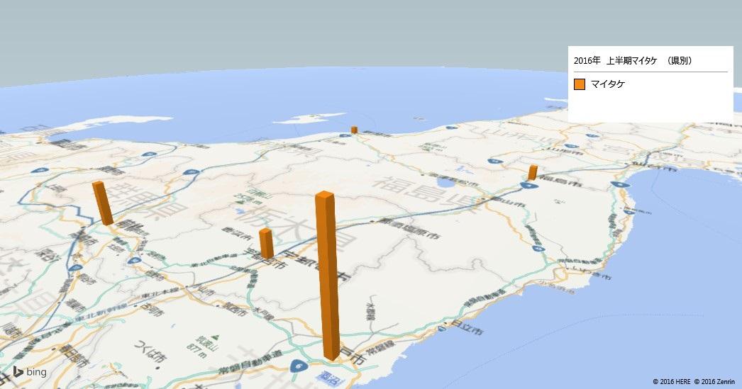 マイタケの放射能検査地図(都道府県別)