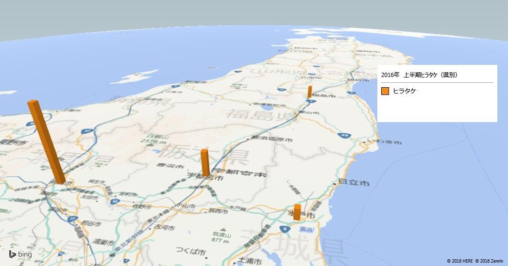 ヒラタケの放射能検査地図(都道府県別)
