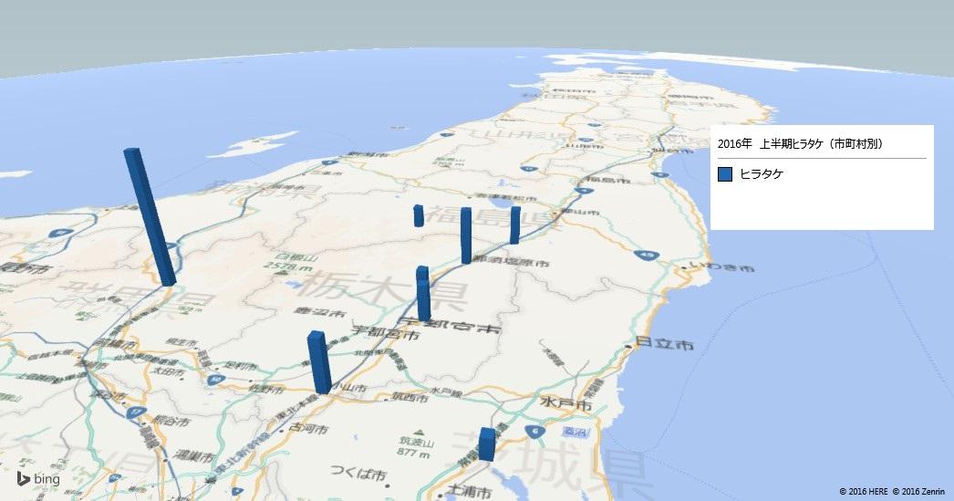 ヒラタケの放射能検査地図(市町村別)