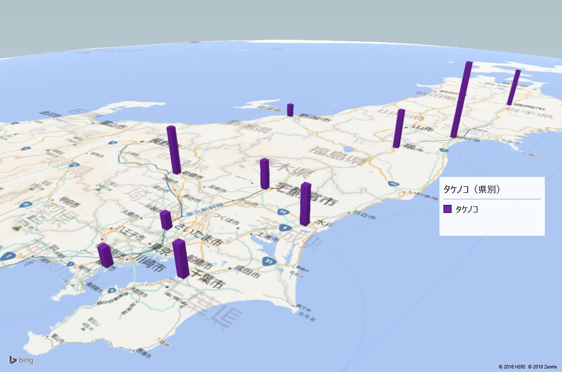 タケノコの放射能検査地図(都道府県別)