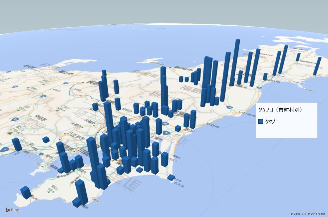 タケノコの放射能検査地図(市町村別)