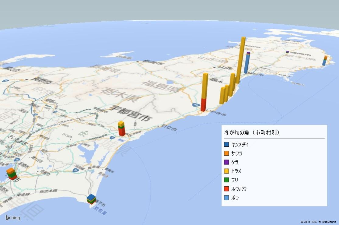 冬が旬の魚の放射能検査地図(市町村別)