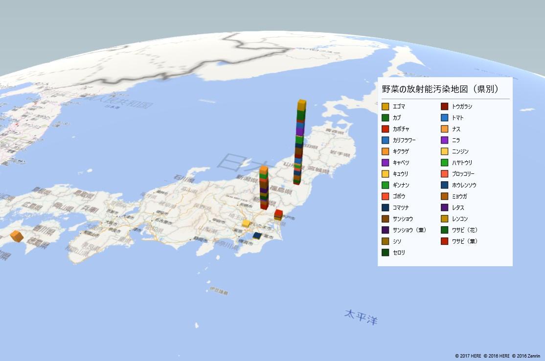 野菜の放射能検査地図(都道府県別)