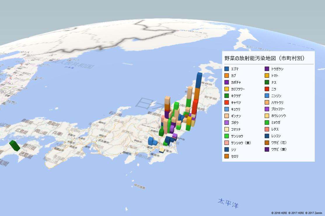 野菜の放射能検査地図(市町村別)