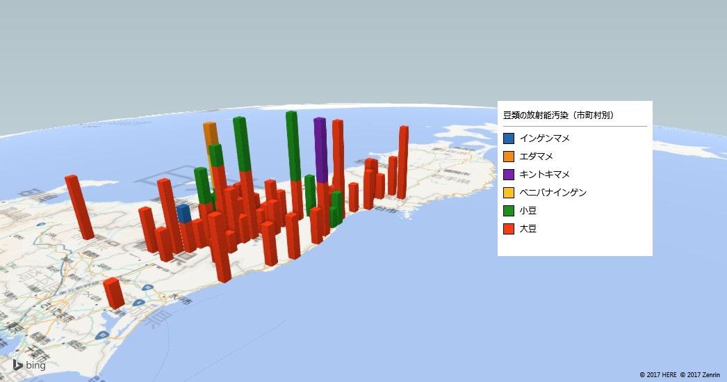 豆類の放射能検査地図(市町村別)