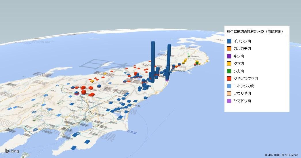 野生鳥獣肉の放射能検査地図(市町村別)