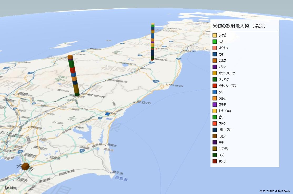 果物の放射能検査地図(都道府県別)