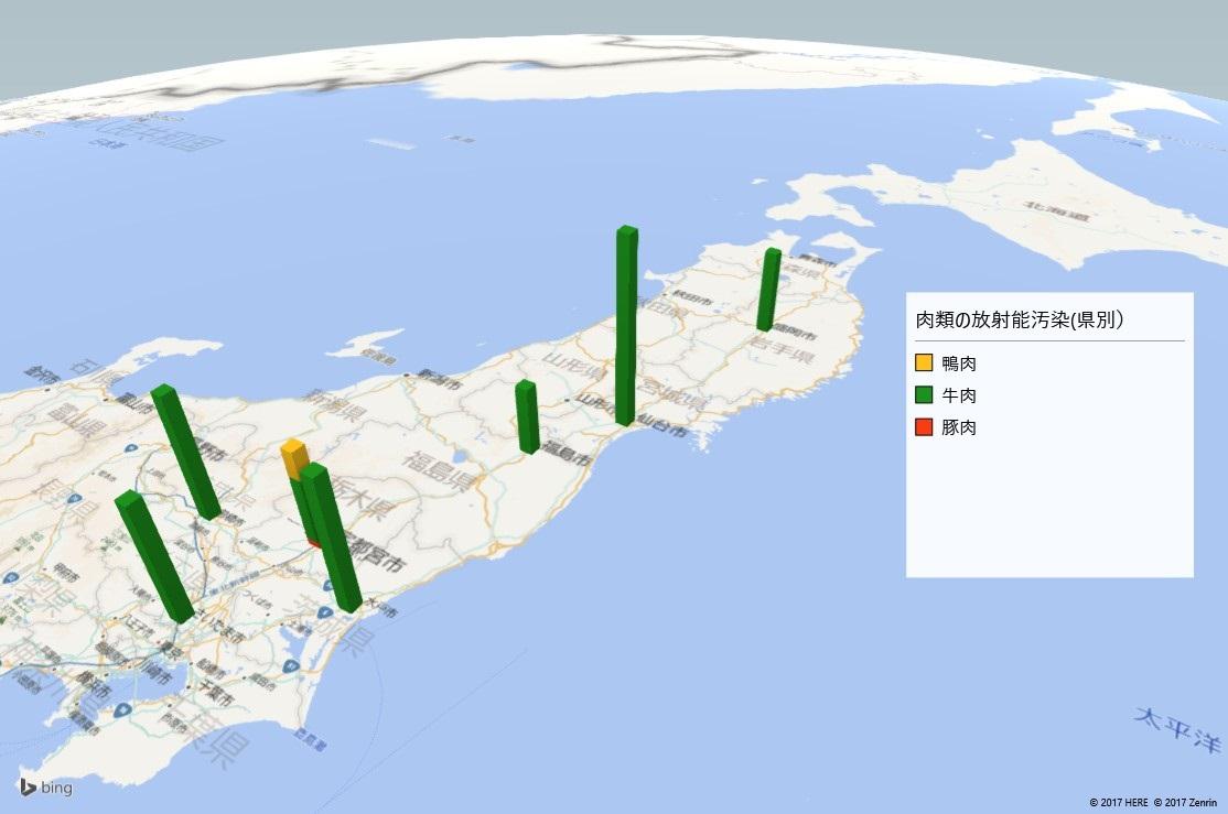 肉類の放射能検査地図(都道府県別)