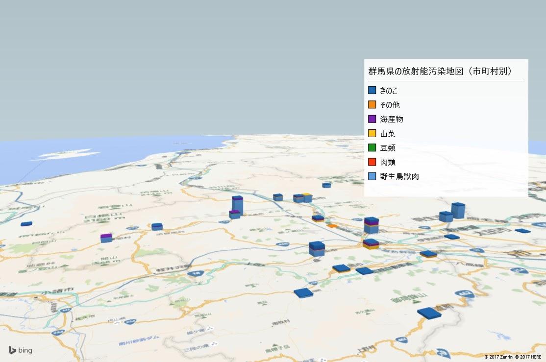 群馬県の放射能検査地図(市町村別)