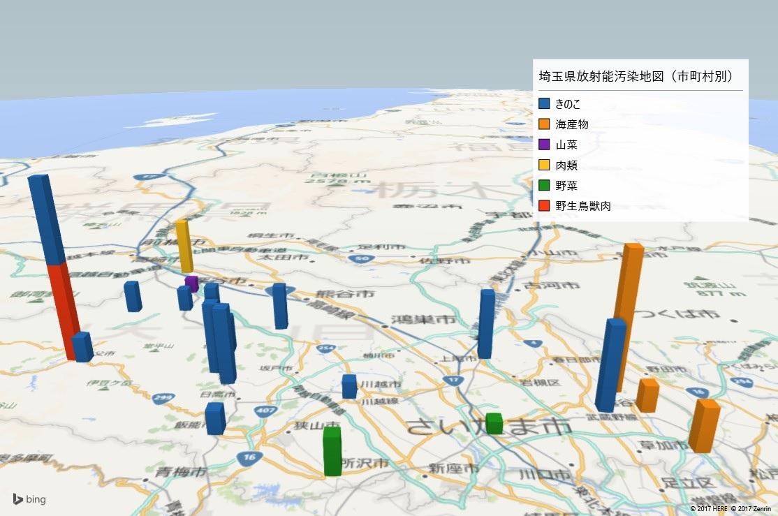 埼玉県の放射能検査地図(市町村別)