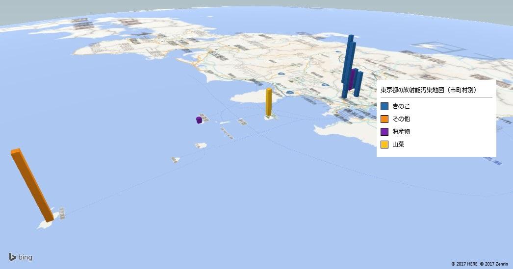 東京都の食品の放射能検査地図(市町村別)