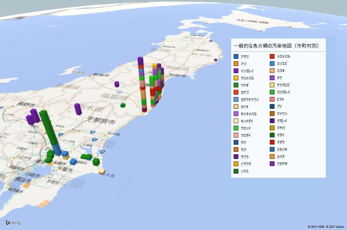 一般的な魚介類放射能汚染地図(県別)