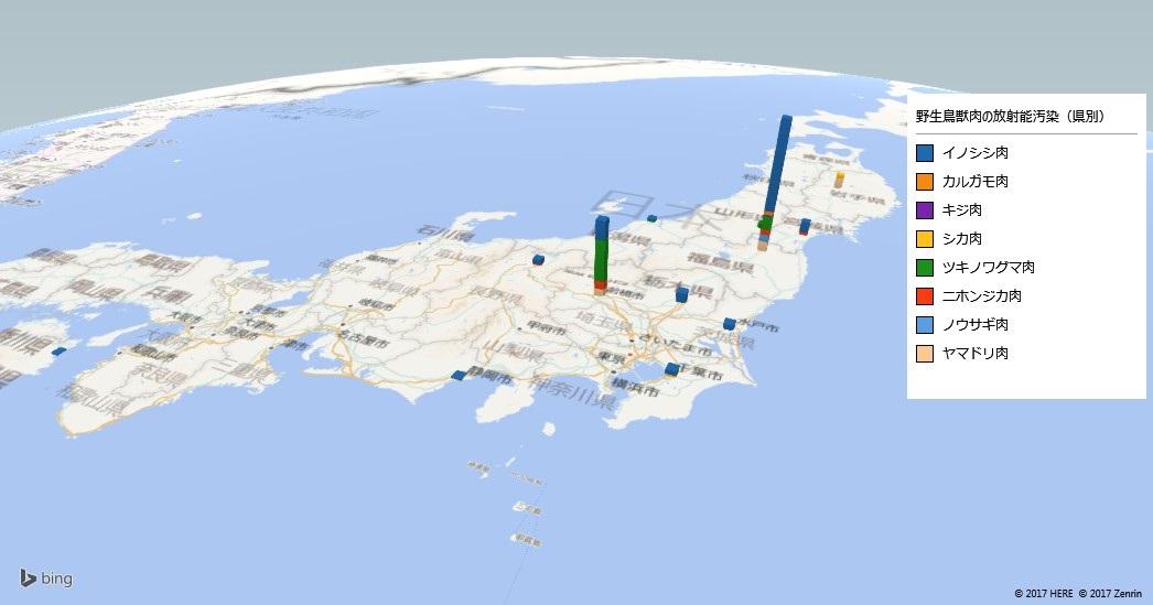 野生鳥獣肉の放射能検査地図(都道府県別)
