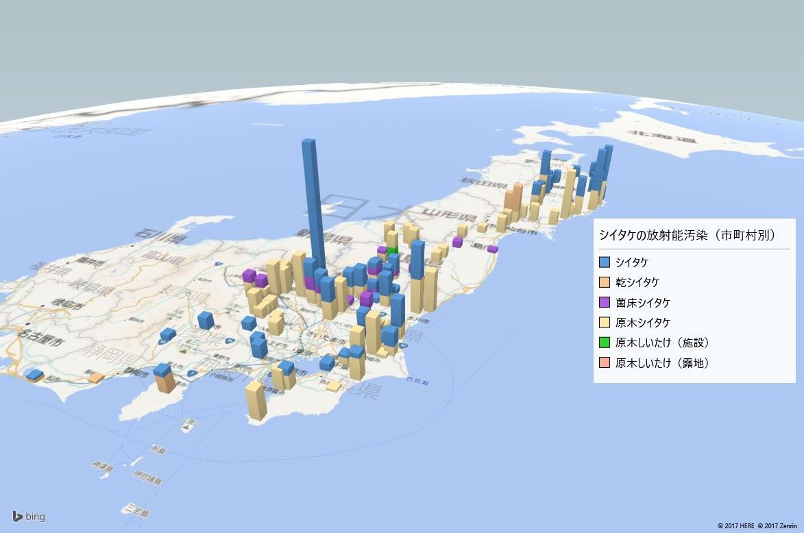 2017年シイタケの放射能検査地図(市町村別)