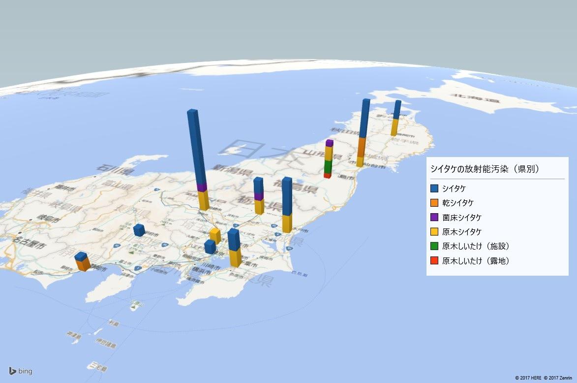 2017年シイタケの放射能検査地図(県別)