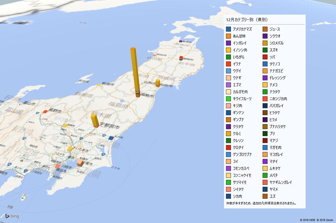 カテゴリー別の放射能検査地図(県別)