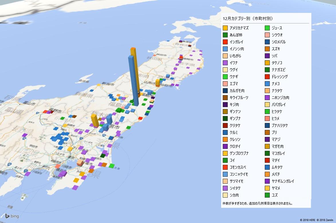カテゴリー別の放射能検査地図(市町村別)