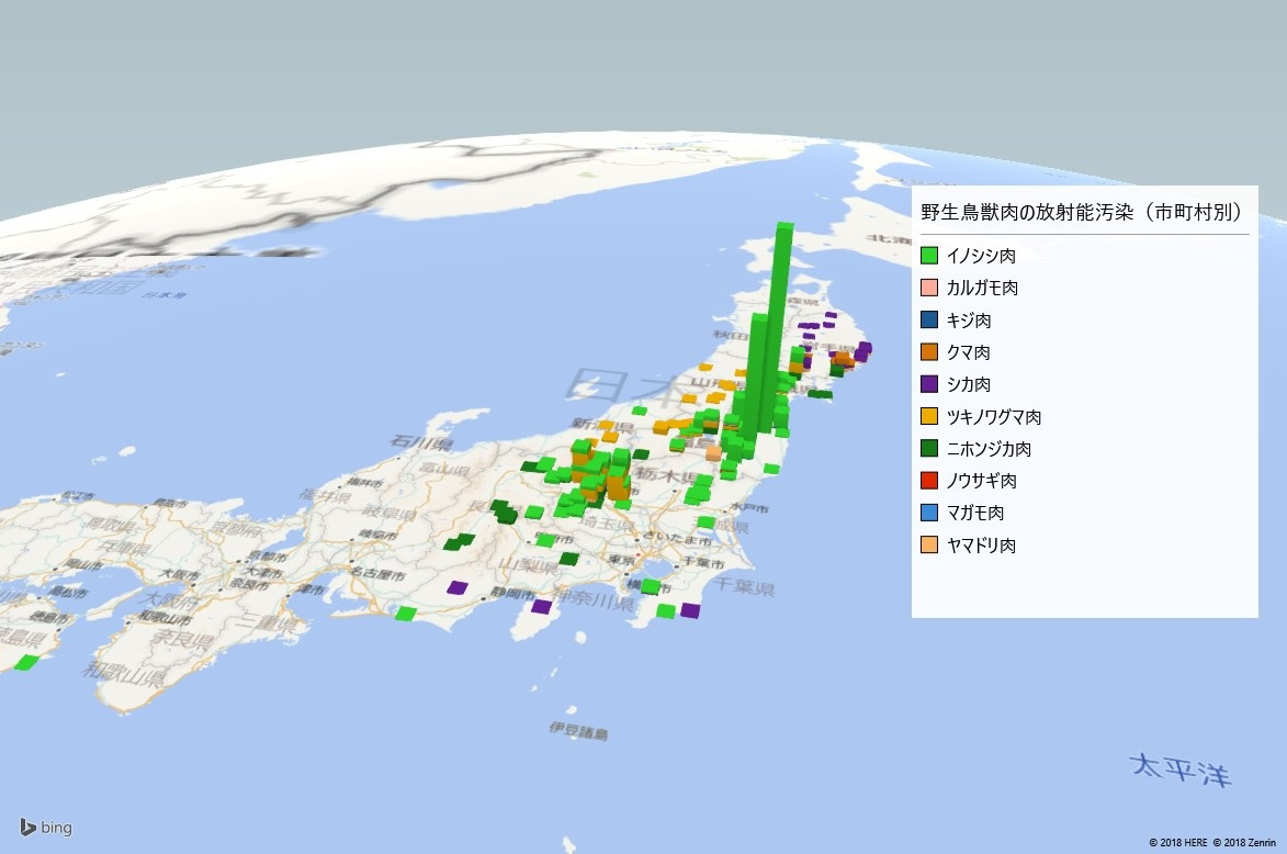 2017年野生鳥獣肉放射能検査地図(市町村別)