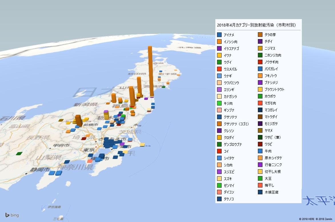 2018年4月カテゴリー別放射能検査地図(市町村別)
