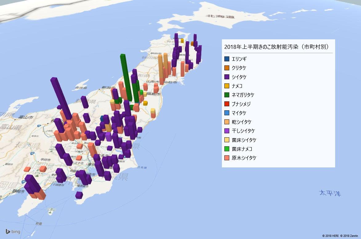 2018年上半期きのこの放射能検査地図(市町村別)