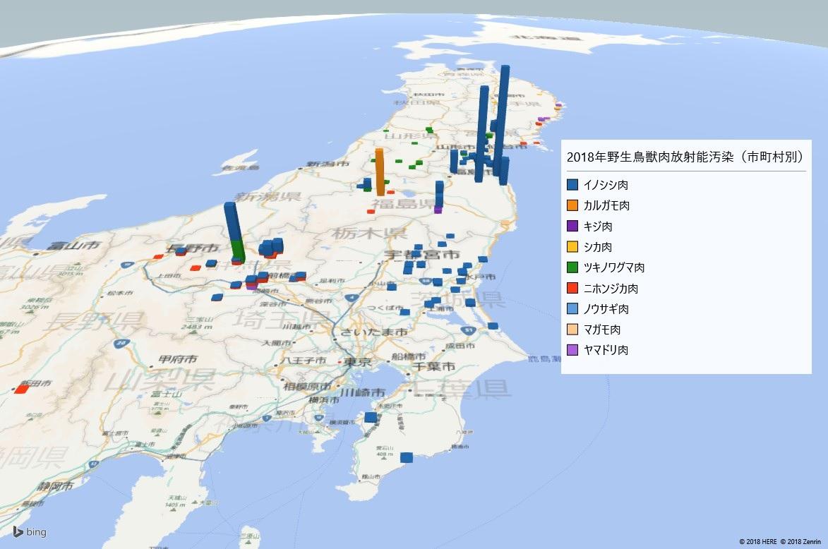 2018年上半期野生鳥獣肉の放射能検査地図(市町村別)
