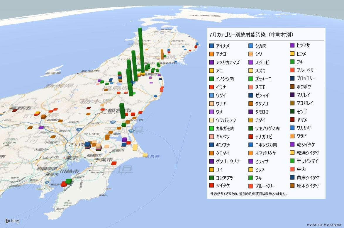 2018年7月カテゴリー別の放射能検査地図(市町村別)