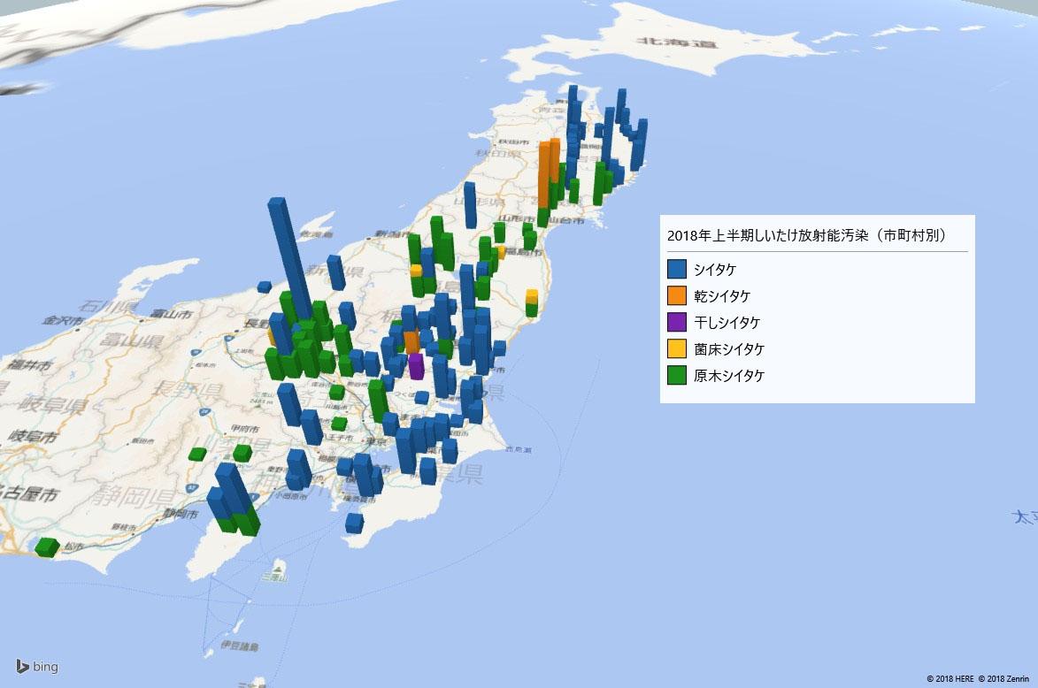 2018年上半期しいたけの放射能検査地図(市町村別)