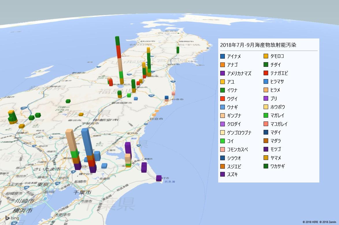 2018年7-9月海産物の放射能検査地図(市町村別)