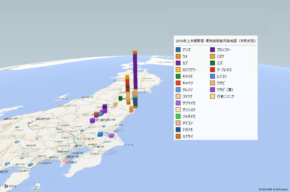 2018年上半期野菜・果物の放射能検査地図(市町村別)
