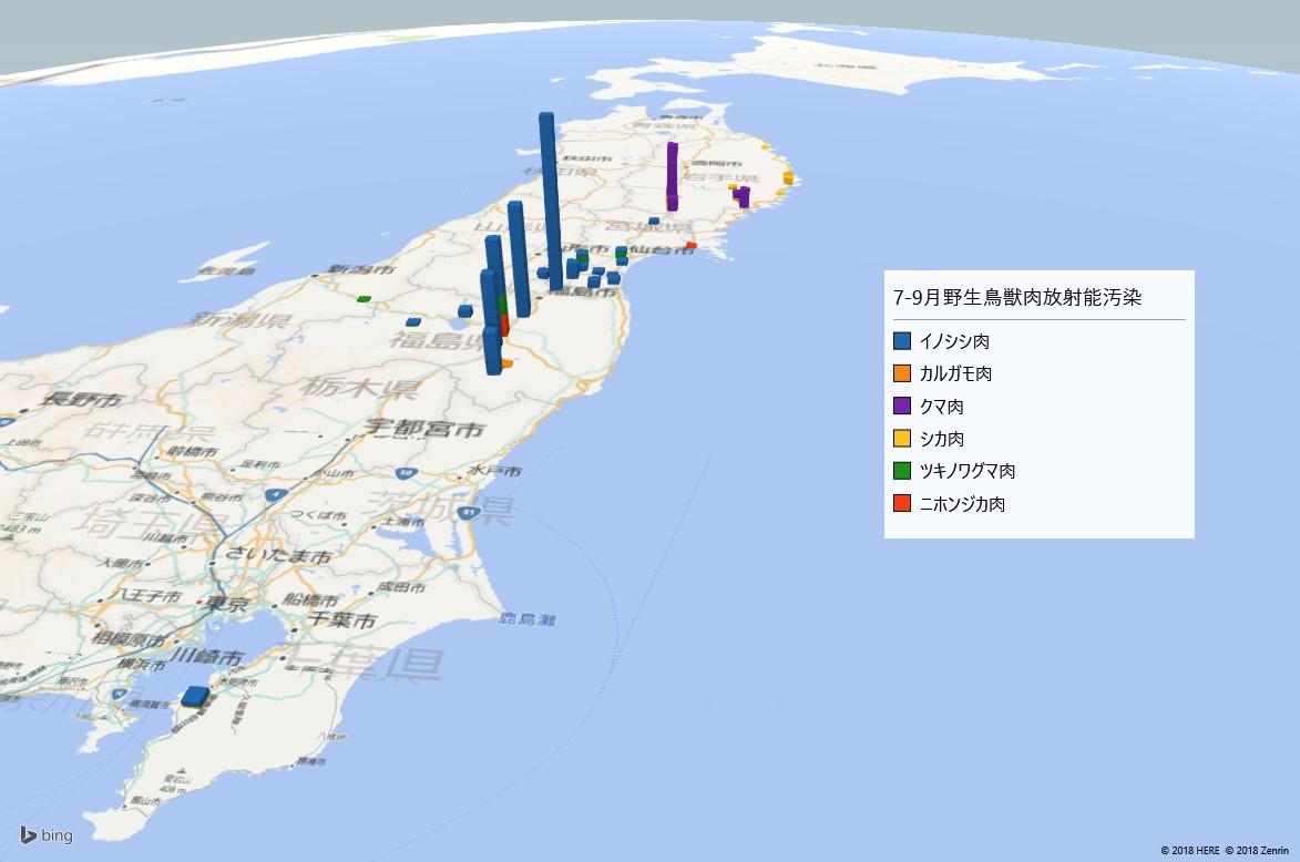 2018年7-9月野生鳥獣肉の放射能検査地図(市町村別)