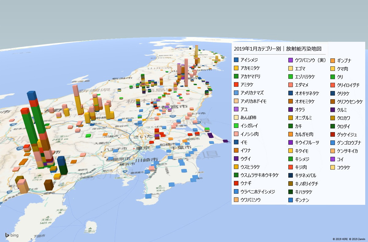 2019年1月カテゴリー別放射能検査地図(市町村別)