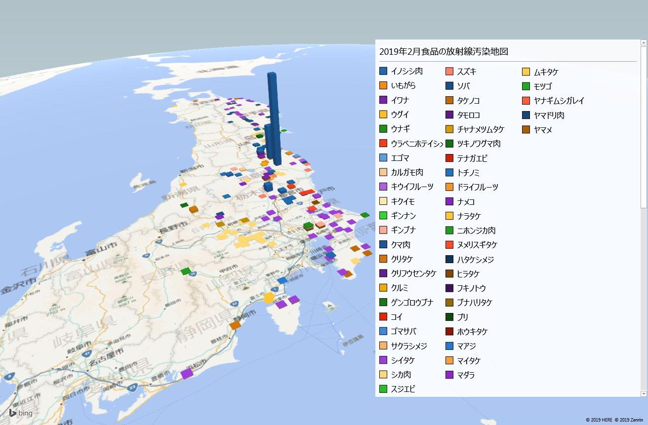 2019年2月カテゴ  リー別放射能検査地図(市町村別)