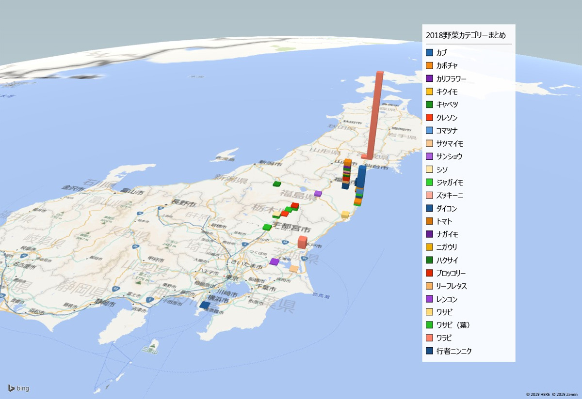 2018年野菜カテゴリー放射能検査地図(市町村別)