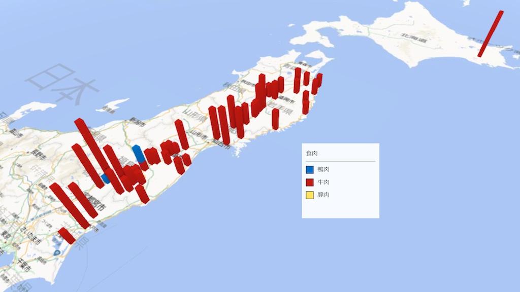 肉類の放射能検査地図(市町村別)