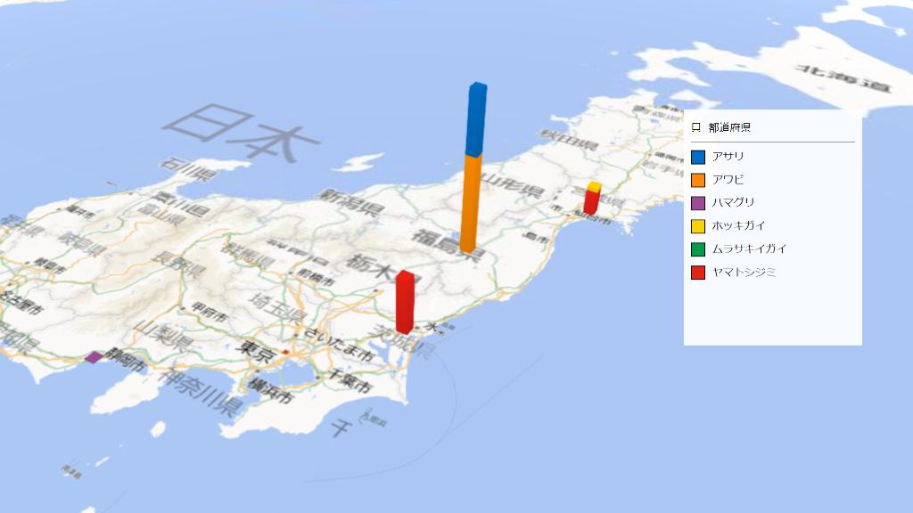 貝の放射能検査地図(県別)