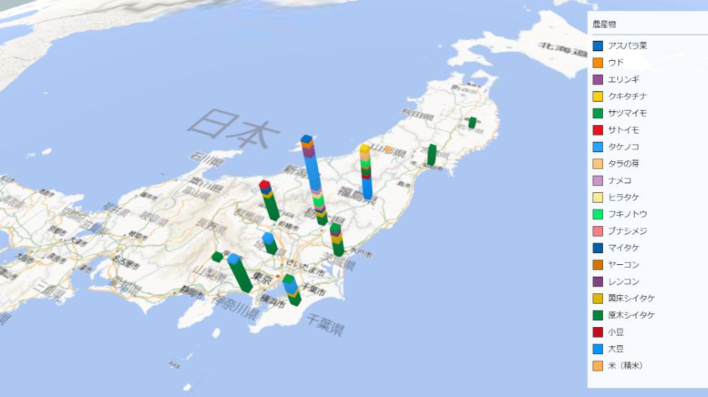 農作物の放射能検査地図(県別)