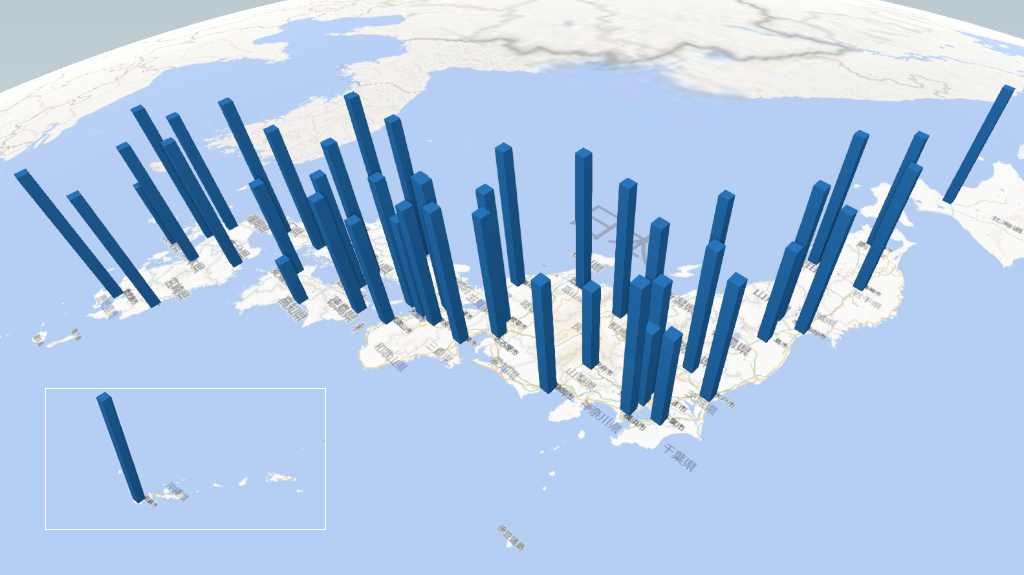 検出限界値の放射能検査地図(県別)