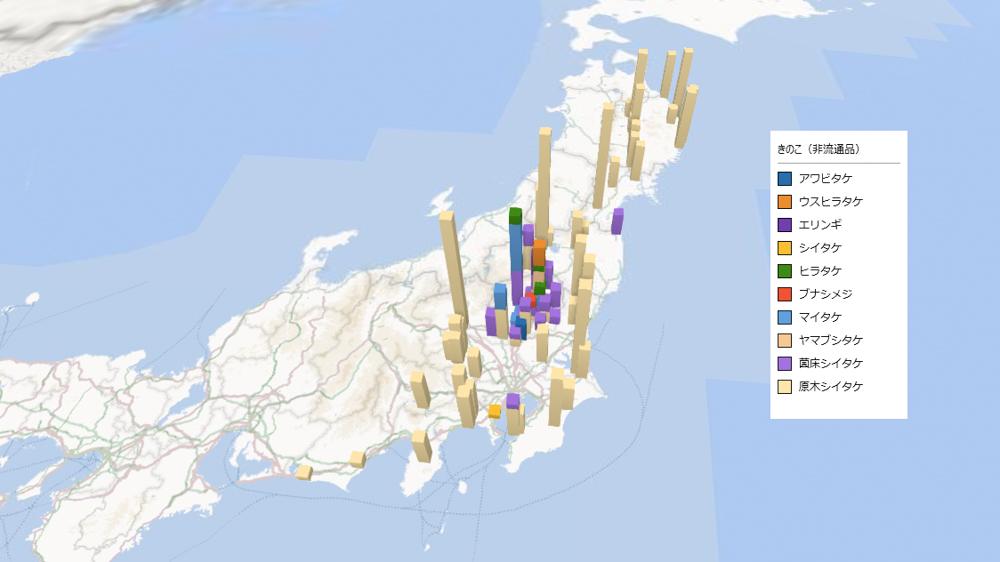 きのこ(非流通品)の放射能検査地図(市町村別)