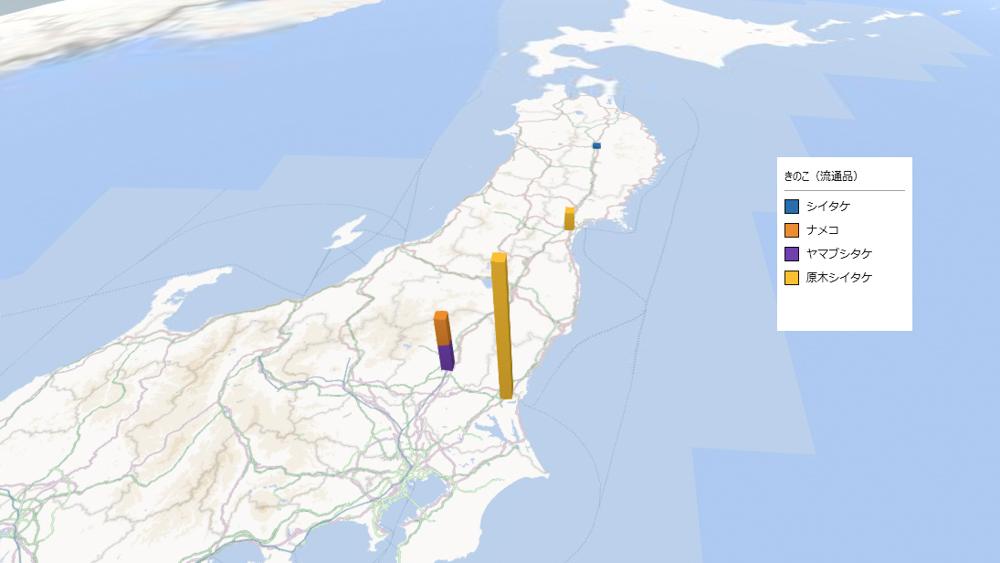きのこ(流通品)の放射能検査地図(県別)