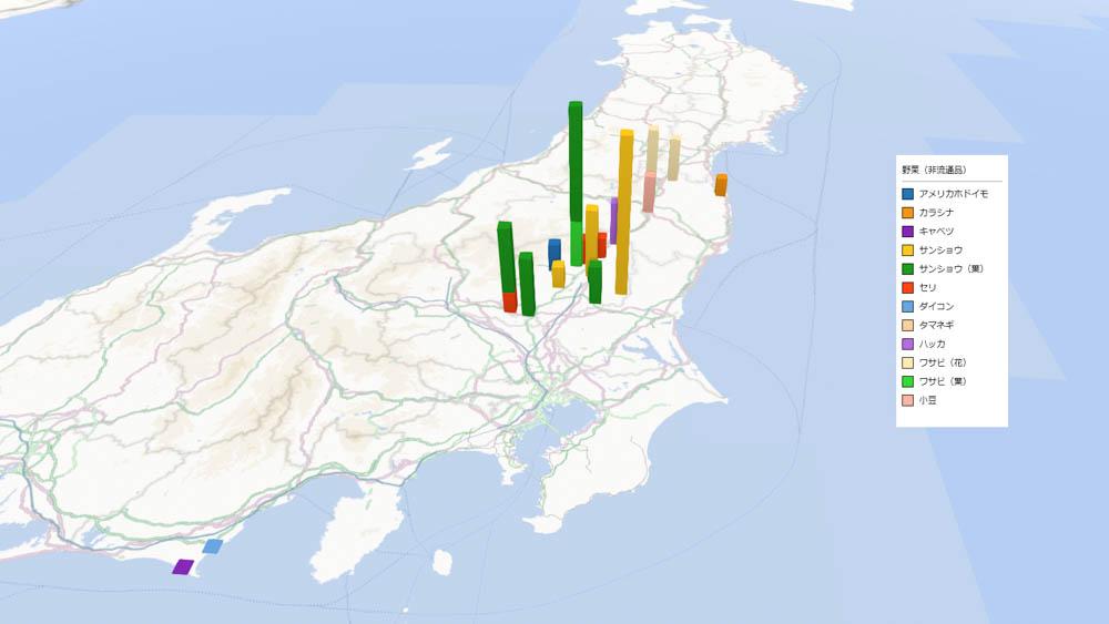 野菜(非流通品)の放射能検査地図(市町村別)