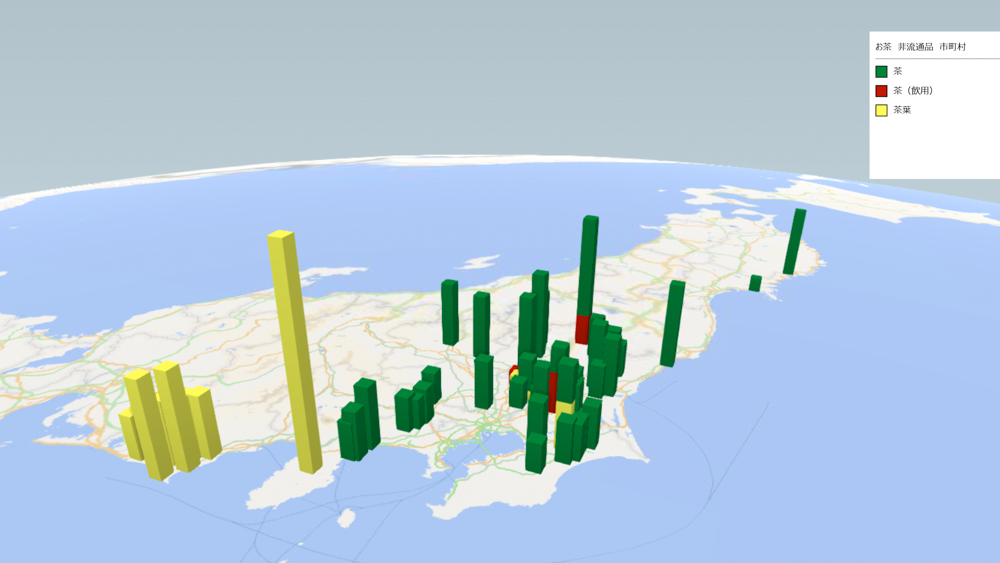 お茶(非流通品)の放射能検査地図(市町村別)