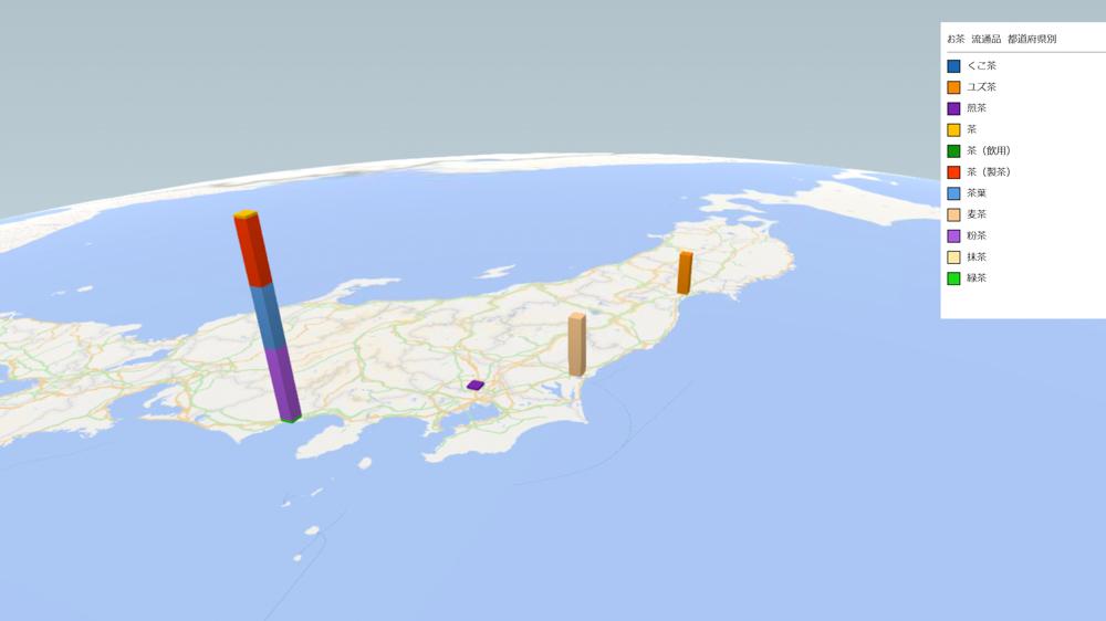 お茶(流通品)の放射能検査地図(県別)