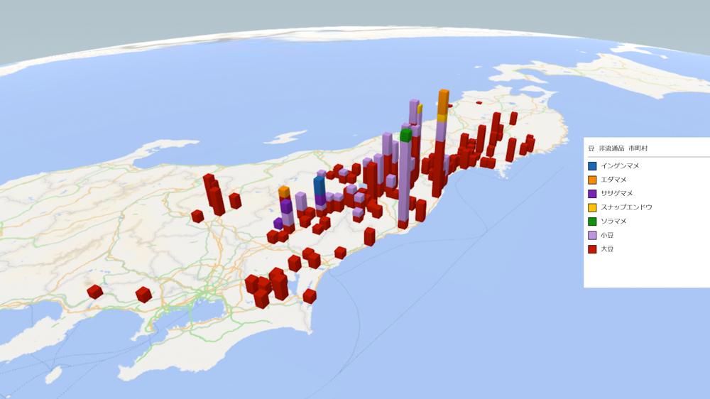 豆(非流通品)の放射能検査地図(市町村別)