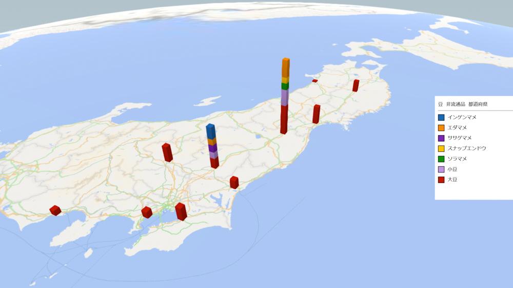 豆(非流通品)の放射能検査地図(県別)