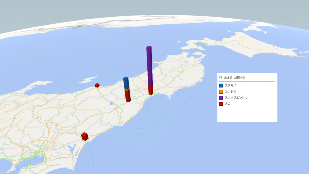 豆(流通品)の放射能検査地図(県別)