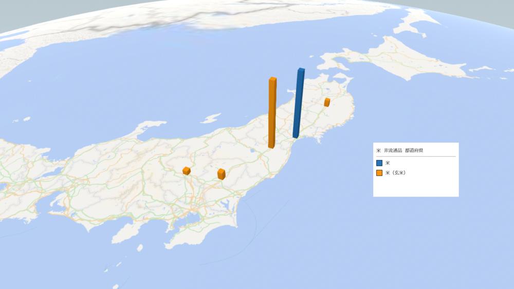 お米(非流通品)の放射能検査地図(県別)