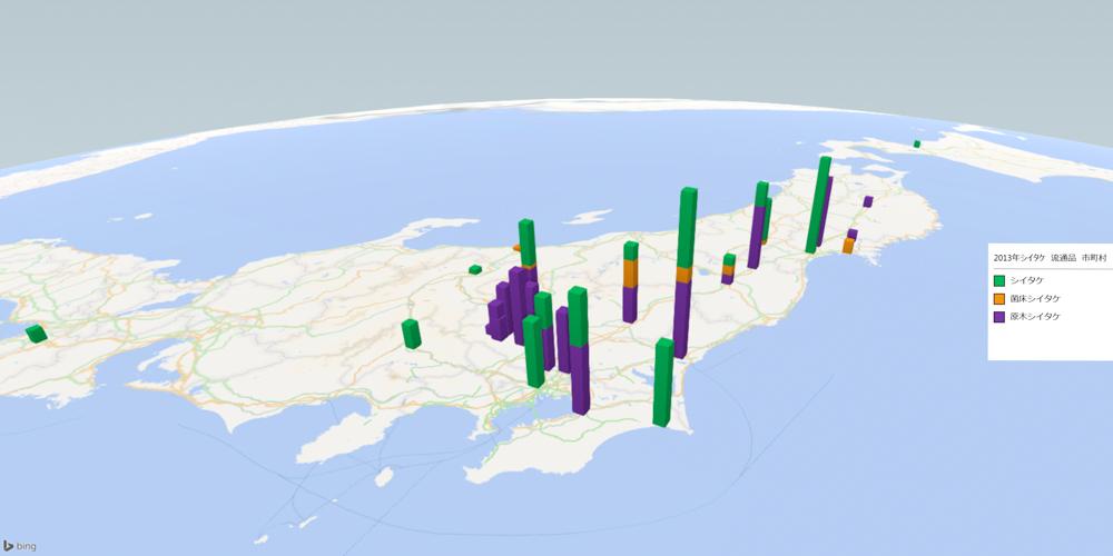 シイタケ(流通品)の放射能検査地図(市町村別)