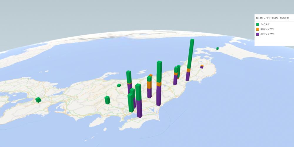 シイタケ(流通品)の放射能検査地図(県別)